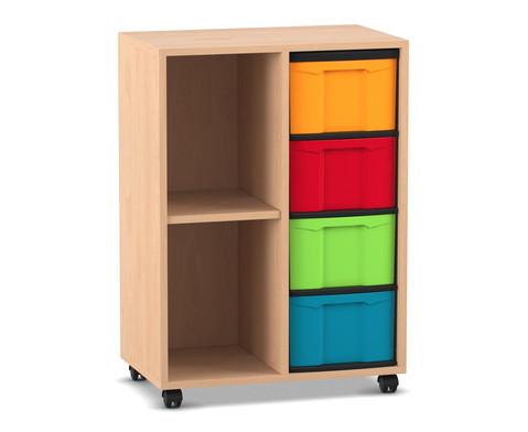 Flexeo Regal mit 2 Reihen 2 Faechern und 4 grossen Boxen rechts
