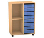 Flexeo Regal mit 2 Reihen, 2 Fächern und 8 kleinen Boxen rechts