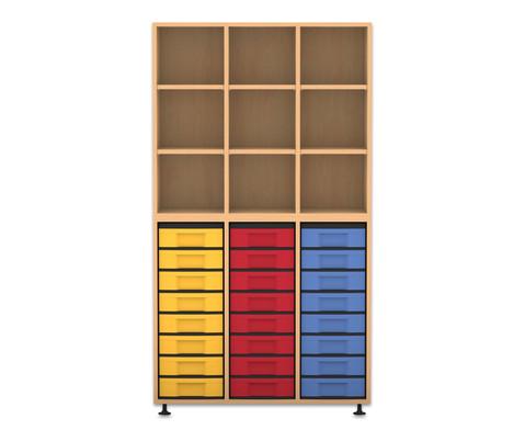 Flexeo Regal 3 Reihen 24 kleine Boxen HxBxT 1781 x 985 x 408 cm