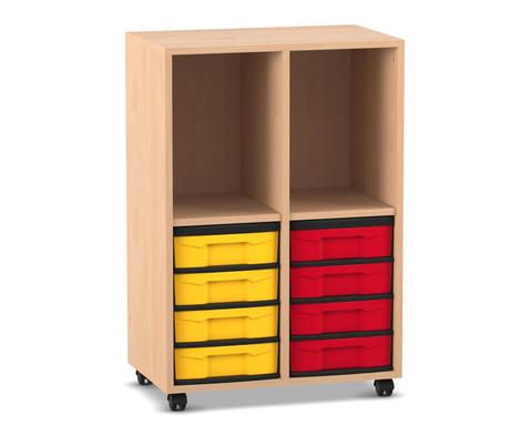 Flexeo Regal mit 2 Reihen 2 Faechern und 8 kleinen Boxen unten