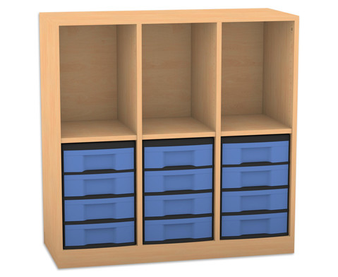 Flexeo Regal mit 3 Reihen 3 Faechern und 12 kleinen Boxen unten