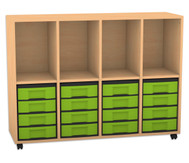 Flexeo Regal mit 4 Reihen, 4 Fächern und 16 kleinen Boxen unten