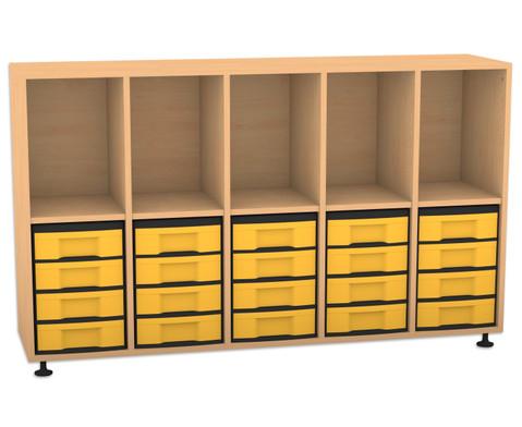 Flexeo Regal mit 5 Reihen 5 Faechern und 20 kleinen Boxen unten-1
