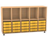 Flexeo Regal mit 5 Reihen, 5 Fächern und 20 kleinen Boxen unten