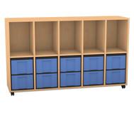 Flexeo Regal mit 5 Reihen, 5 Fächern und 10 großen Boxen unten