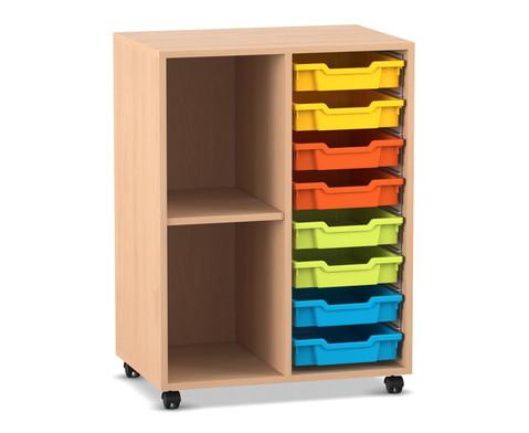 Flexeo Regal PRO mit 2 Reihen 2 Faechern und 8 kleinen Boxen