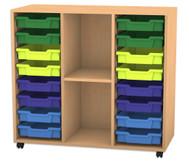 Flexeo Regal PRO mit 3 Reihen, 2 Fächern und 16 kleinen Boxen