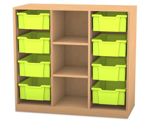 Flexeo Regal PRO mit 3 Reihen 3 Faechern und 8 grossen Boxen