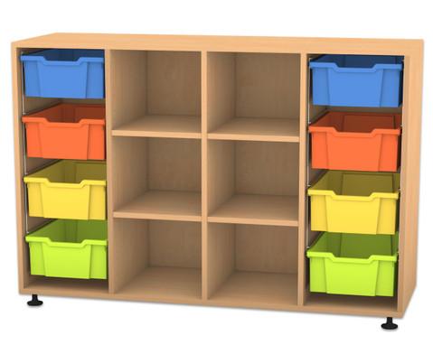 Flexeo Regal PRO mit 4 Reihen 6 Faechern und 8 grossen Boxen