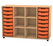 Flexeo Regal PRO mit 4 Reihen, 6 Fächern und 16 kleinen Boxen
