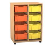 Flexeo Regal PRO, 2 Reihen, 8 große Boxen, H x B x T: 99,1 x 73,1 x 48 cm