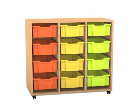 Flexeo Regal PRO mit 3 Reihen und 12 grossen Boxen
