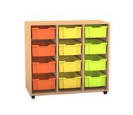 Flexeo Regal PRO mit 3 Reihen und 12 großen Boxen