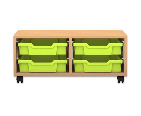 Flexeo Regal PRO mit 2 Reihen und 4 kleinen Boxen