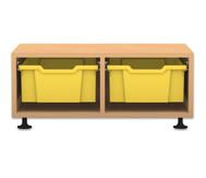 Flexeo Regal PRO, 2 Reihen, 2 große Boxen, HxBxT: 32,5 x 73,1 x 48 cm