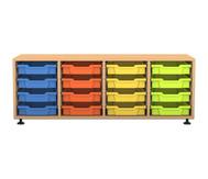 Flexeo Regal PRO mit 4 Reihen und 16 kleinen Boxen