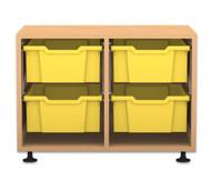 Flexeo Regal PRO, 2 Reihen, 4 große Boxen, HxBxT: 54,7 x 73,1 x 48 cm