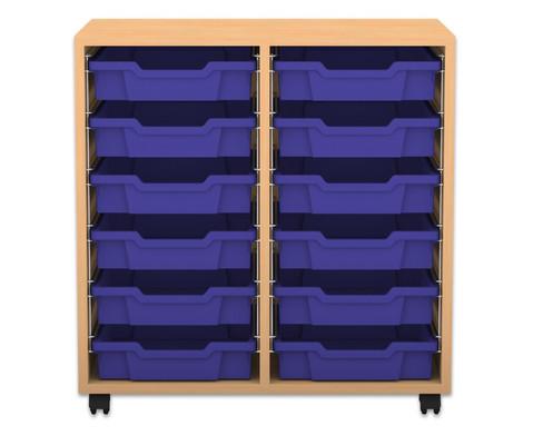 Flexeo Regal PRO mit 2 Reihen und 12 kleinen Boxen