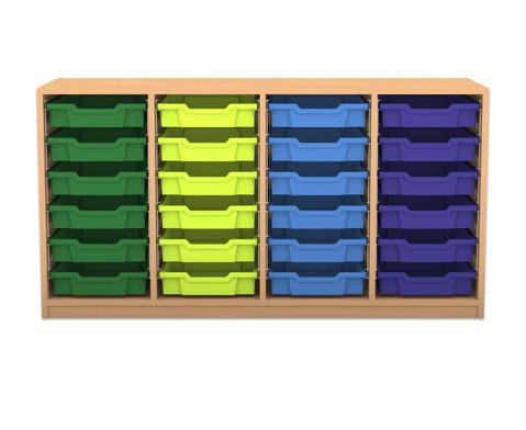 Flexeo Regal PRO mit 4 Reihen und 24 kleinen Boxen