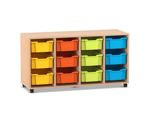 Flexeo Regal PRO mit 4 Reihen und 12 grossen Boxen