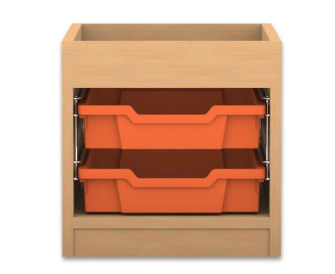 Flexeo Regal PRO mit 1 Reihe 2 kleinen Boxen und Aufkantung
