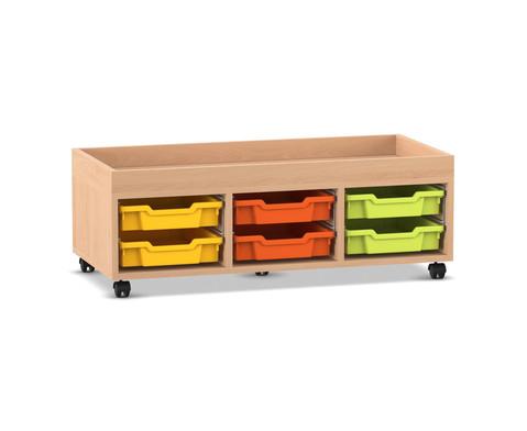 Flexeo Regal PRO mit 3 Reihen 6 kleinen Boxen und Aufkantung