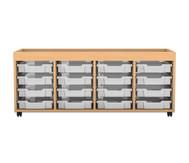 Flexeo Regal PRO mit 4 Reihen, 16 kleinen Boxen und Aufkantung