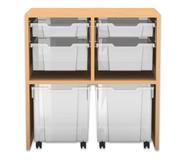 Flexeo Regal PRO mit 2 Reihen, 4 gemischten und 2 fahrbaren Boxen