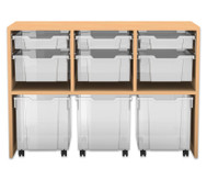 Flexeo Regal PRO mit 3 Reihen, 3 S-Boxen, 3 M-Boxen und 3 fahrbaren XL-Boxen