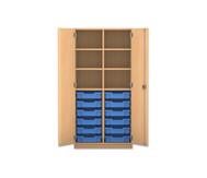 Flexeo Regalschrank PRO mit 2 Reihen, 6 Fächern und 12 kleinen Boxen