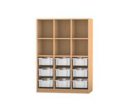 Flexeo Regal PRO, 3 Reihen, 9 große Boxen, oben 3 Fachböden, HxBxT: 143,9 x 108,5 x 48 cm
