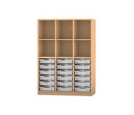 Flexeo Regal PRO, 3 Reihen, 18 kleine Boxen oben 3 Fachböden, HxBxT: 143,9 x 108,5 x 48 cm
