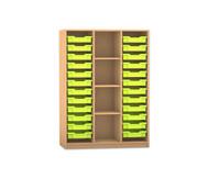 Flexeo Regal PRO, 3 Reihen, 24 kleine Boxen mittig 3 Fachböden, HxBxT: 143,9 x 108,5 x 48 cm