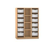 Flexeo Regal PRO mit 3 Reihen, 4 Fächern und 12 großen Boxen