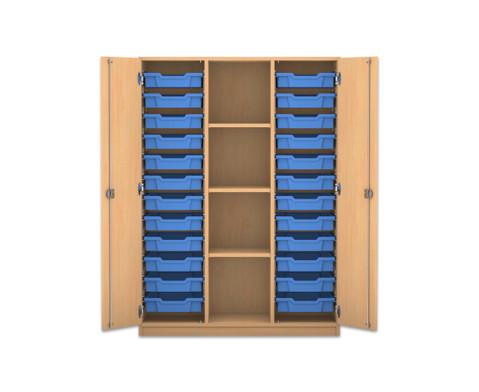 Flexeo Regalschrank PRO mit 3 Reihen 4 Faechern und 24 kleinen Boxen