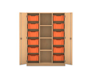 Flexeo Regalschrank PRO mit 3 Reihen, 4 Fächern und 12 großen Boxen