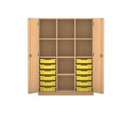 Flexeo Regalschrank PRO mit 3 Reihen, 8 Fächern und 12 kleinen Boxen