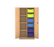 Flexeo Regalschrank PRO mit 2 Reihen, 4 Fächern und 6 großen Boxen