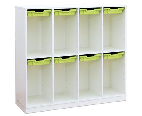 Flexeo Schulranzenregal PRO 4 Reihen 8 kleine Boxen HxBxT 1322 x 1439 x 48 cm