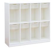 Flexeo Schulranzenregal PRO, 4 Reihen 8 große Boxen