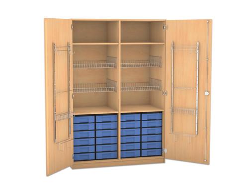 Flexeo Schubladen-Sportschrank mit Gitterkoerben und 24 kleinen Boxen
