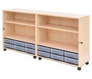 Flexeo Klapp-Wagen, fahrbar, 4 Fachböden, 12 kleine Boxen