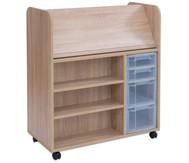 Flexeo Bücherwagen fahrbar mit 2 kleinen 2 großen Boxen, HxBxT: 106,5 x 94,4 x 48 cm