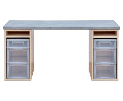 Flexeo Materialtisch mit 2 Regalen B x T 150 x 64 cm