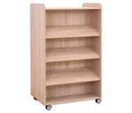 Flexeo Bücherwagen, oben 1 Ablagefach beidiseitig  je 3 Schrägablagen