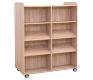 Flexeo Bücherwagen, oben 1 Ablagefach, Mittelwand beidseitig  je 2 Fachböden und 4 Schrägablagen