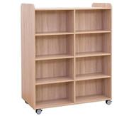 Flexeo Bücherwagen, oben 1 Ablagefach, Mittelwand beidiseitig  je 6 Fachböden