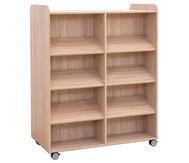 Flexeo Bücherwagen, oben 1 Ablagefach, Mittelwand beidseitig 6 Schrägablagen