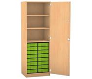Flexeo Hochschrank mit 1 Drehtür, 3 Fachböden und 16 kleine Boxen, HxB: 190 x 64,1 cm