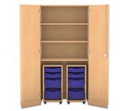Flexeo Garagenschrank mit 3 Fächern, 2 Rollcontainern und 8 Boxen